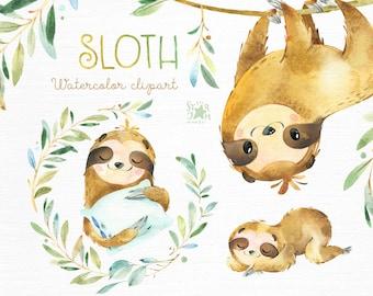 Sloth. Little animals watercolor clipart, sleepy sloths, wreath, florals, babyshower, kids, baby, cute, nursery, branches, starjamforkids