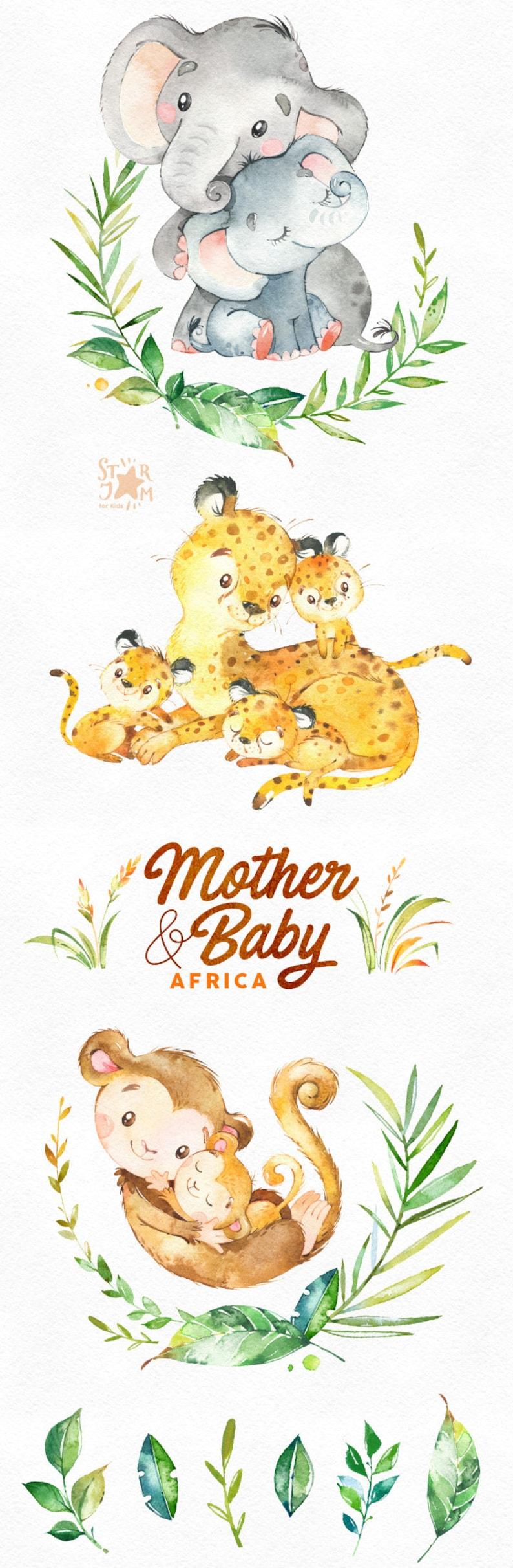699f24950f247 Madre y bebé. África. Acuarela animales clipart elefante