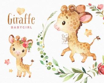 Giraffe Babygirl. Watercolor animals clipart, African, greeting, flowers, wreath, invite, safari, leaves, baby, baby-shower, cute, kids