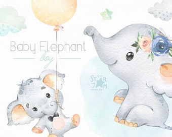 Baby Elephant. Boy. Watercolor little animal clipart, child, blue, sleep, baby-born, baby-shower, dream, clouds, flowers, air-balloons