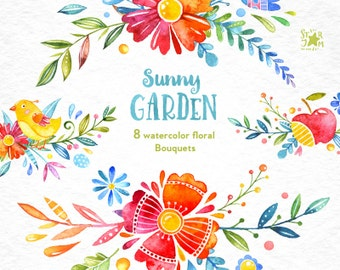 Sunny Garden. Bouquets, watercolor clipart, floral, greeting, diy, invite, baby, colorful, birds, babyshower, quotes, wallart, spring