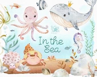In the Sea. Watercolor clipart, octopus, whale, underwater, seahorse, shell, seaweed, fish, ocean, undersea, aquarium, baby-shower, nursery
