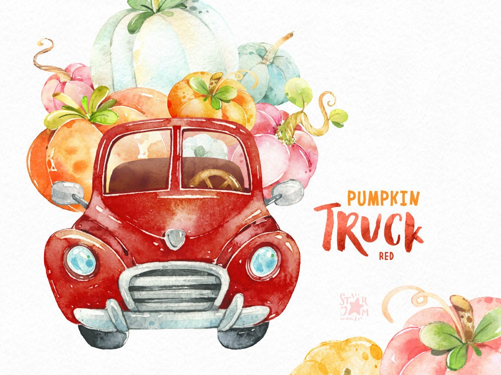Pumpkin Truck Red. Watercolor Fall clipart halloween | Etsy