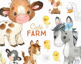 Cute Farm. Watercolor country clipart, horse, cow, chicken, goose, fun, little animals, household, harvest, baby shower, calf, foal, chick