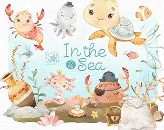 In the Sea 2. Watercolor clipart, octopus, turtle, underwater, crab, shrimp, seaweed, fish, ocean, undersea, aquarium, baby-shower, nursery