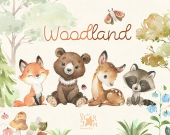 Woodland. Little animals watercolor clip art, fox, deer, bear, raccoon, florals, tree, baby-shower, woods, wild, forest, baby, nursery