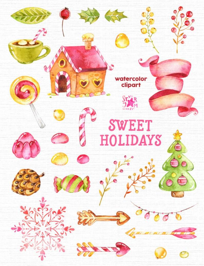 Clipart Weihnachten.Süße Ferien Aquarell Cliparts Weihnachten Süßigkeiten Winter Lutscher Grußkarte Diy Pfeile Dekor Kegel Tanne Tasse Frohe