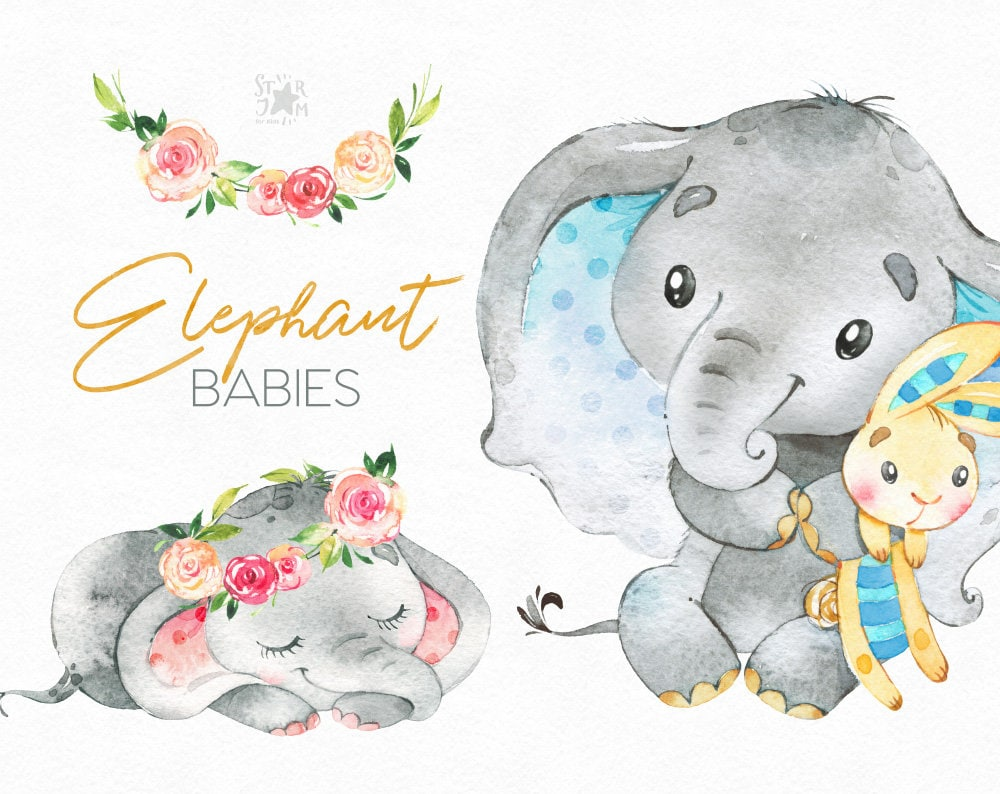Elephant. Babies. Watercolor little animal clipart africa ...