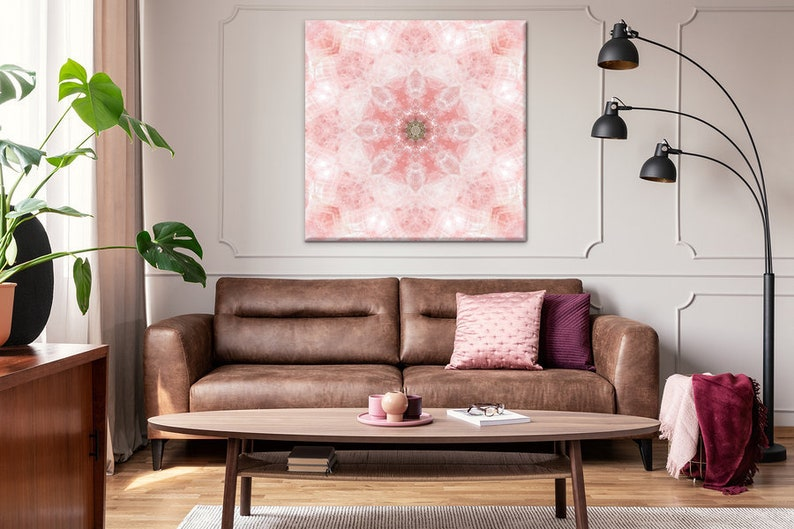 Rose Quartz Mandala Art Canvas Print ~ Crystal Art ~ Elegant Wall Decor for  Living Room Bedroom and Nursery ~ Nature Photography ~ Australia