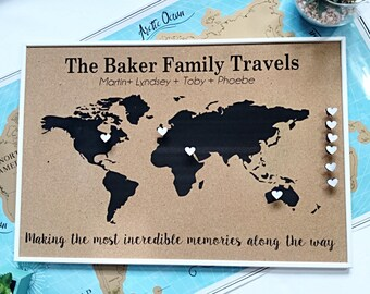 Personalised map etsy personalised push pin world map cork board map anniversary gift 5th anniversary gift gift for him travel gift personalised map gumiabroncs Image collections