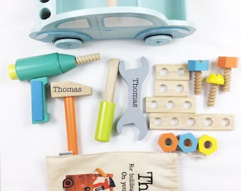 Personalised Tool Set Wooden Box Boys 1st Birthday Gift Christening Baptism Car