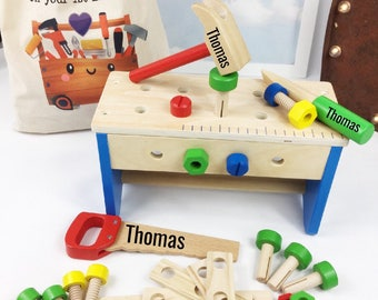Personalised Tool Set Wooden Box Boys 1st Birthday Gift Christening Baptism Bench