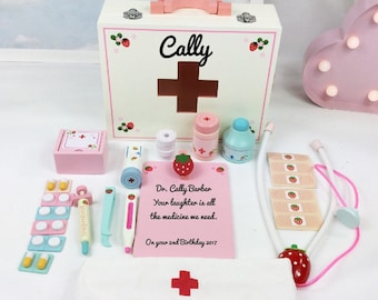 Girls 1st Birthday Gift Personalised Wooden Toy Doctors Set Get Well Soon Role Play For A Gir