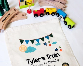 Wooden Train Toy Personalised TrainFirst Birthday Gift Christening Baptism Page Boy
