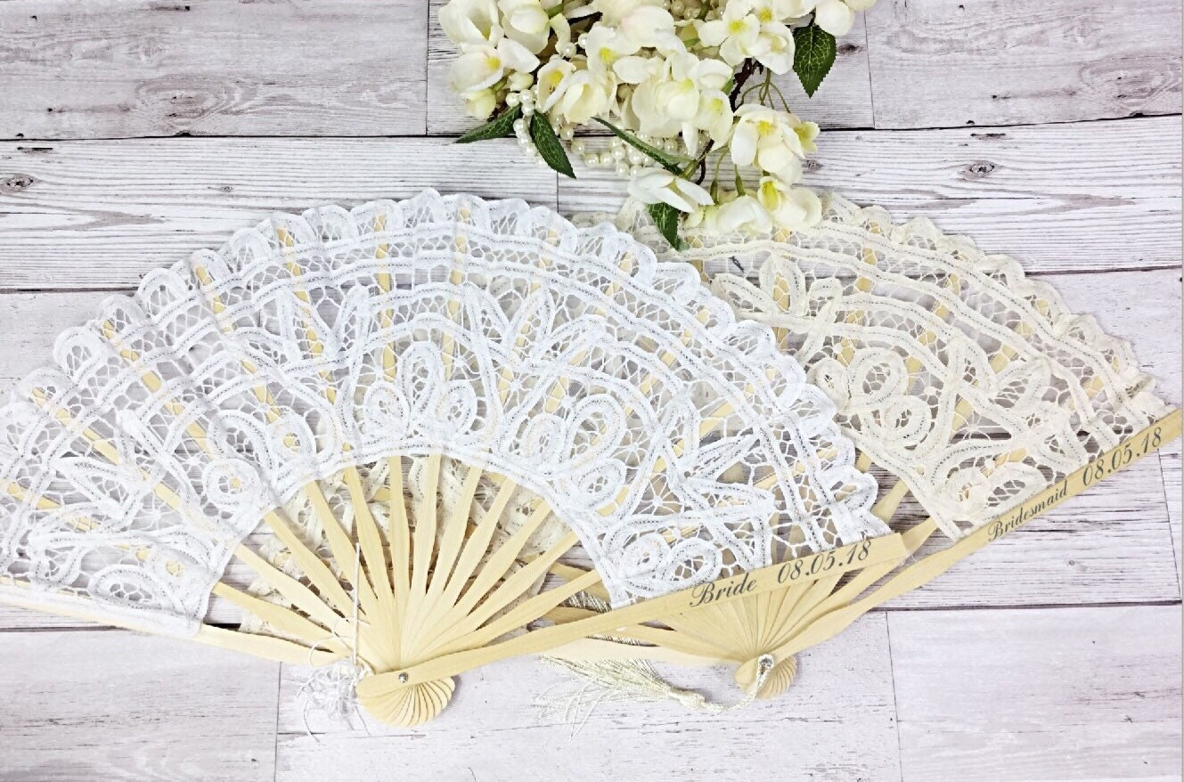 Wooden fan, wedding fan, personalised fan, Hand fan, wedding favours ...