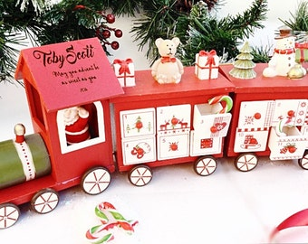 Wooden advent calendar, Personalised advent calender, Train advent calender.