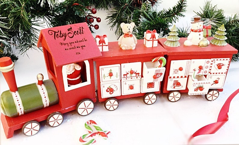 Wooden Advent Calendar Personalised Advent Calender Train Advent Calender