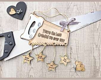 Father's Day gift, Gift for him , personalised wooden plaque ,  word pun, gift for dad, gift for grandad, wooden saw.