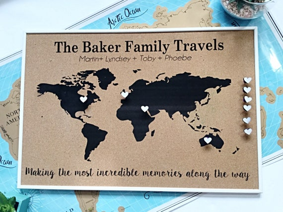Personalised Push pin world map, cork board map, Anniversary gift, 5th  anniversary gift, Gift for him, Travel gift. Personalised map .