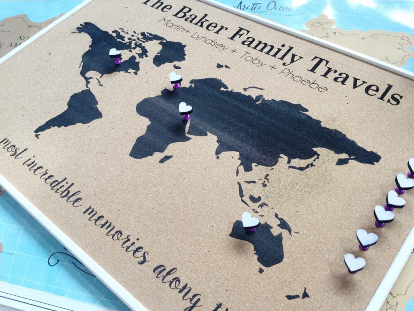 Personalized Anniversary Pushpin World Map.Personalised Push Pin World Map Cork Board Map Anniversary Gift