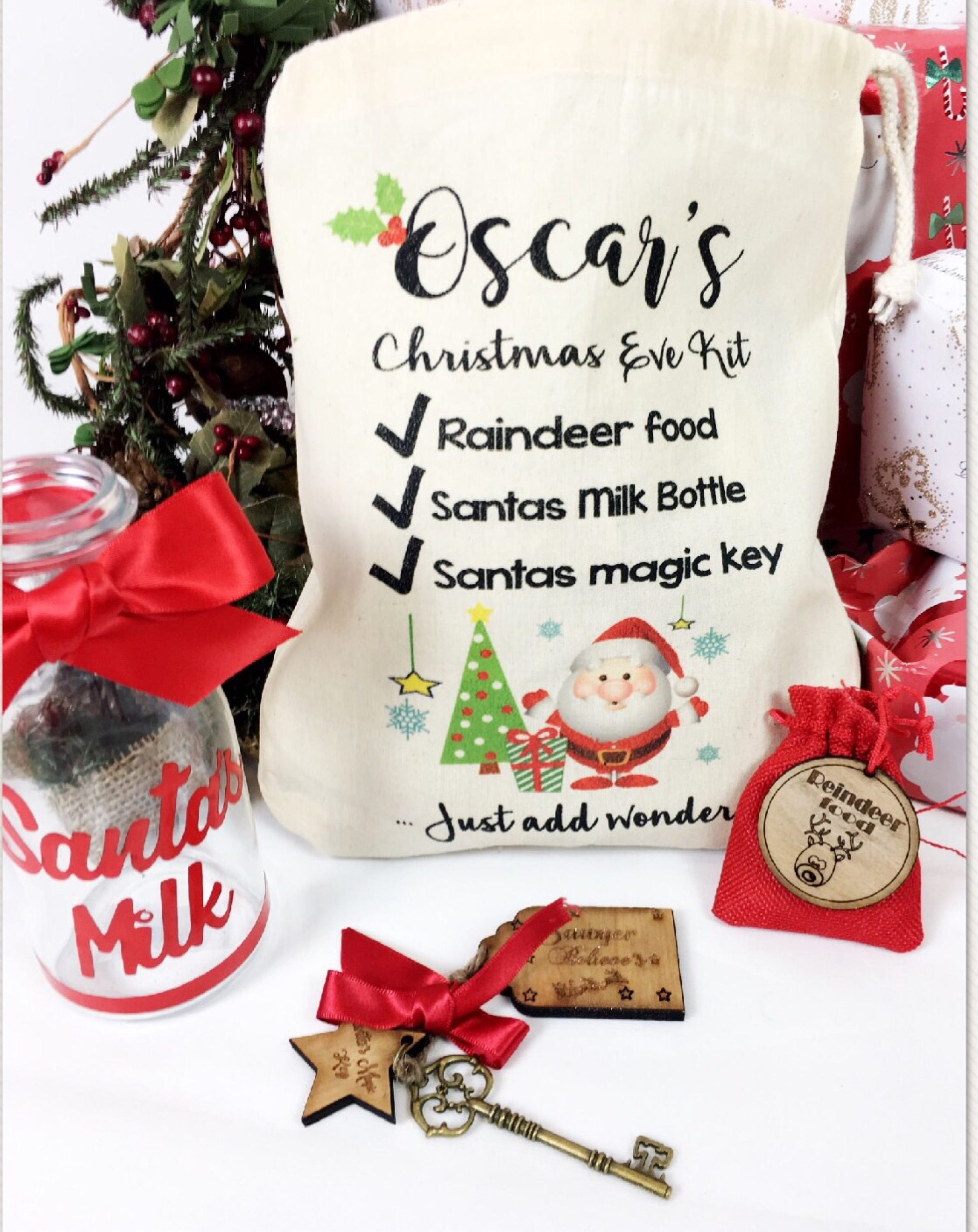 Personalised Christmas eve box fillers, WITH BAG, Christmas Eve pack ...