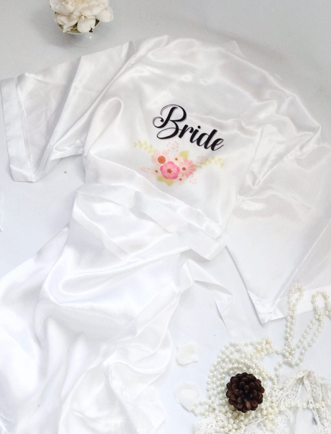 Personalised satin robe , Bridesmaids dressing gown, wedding party ...