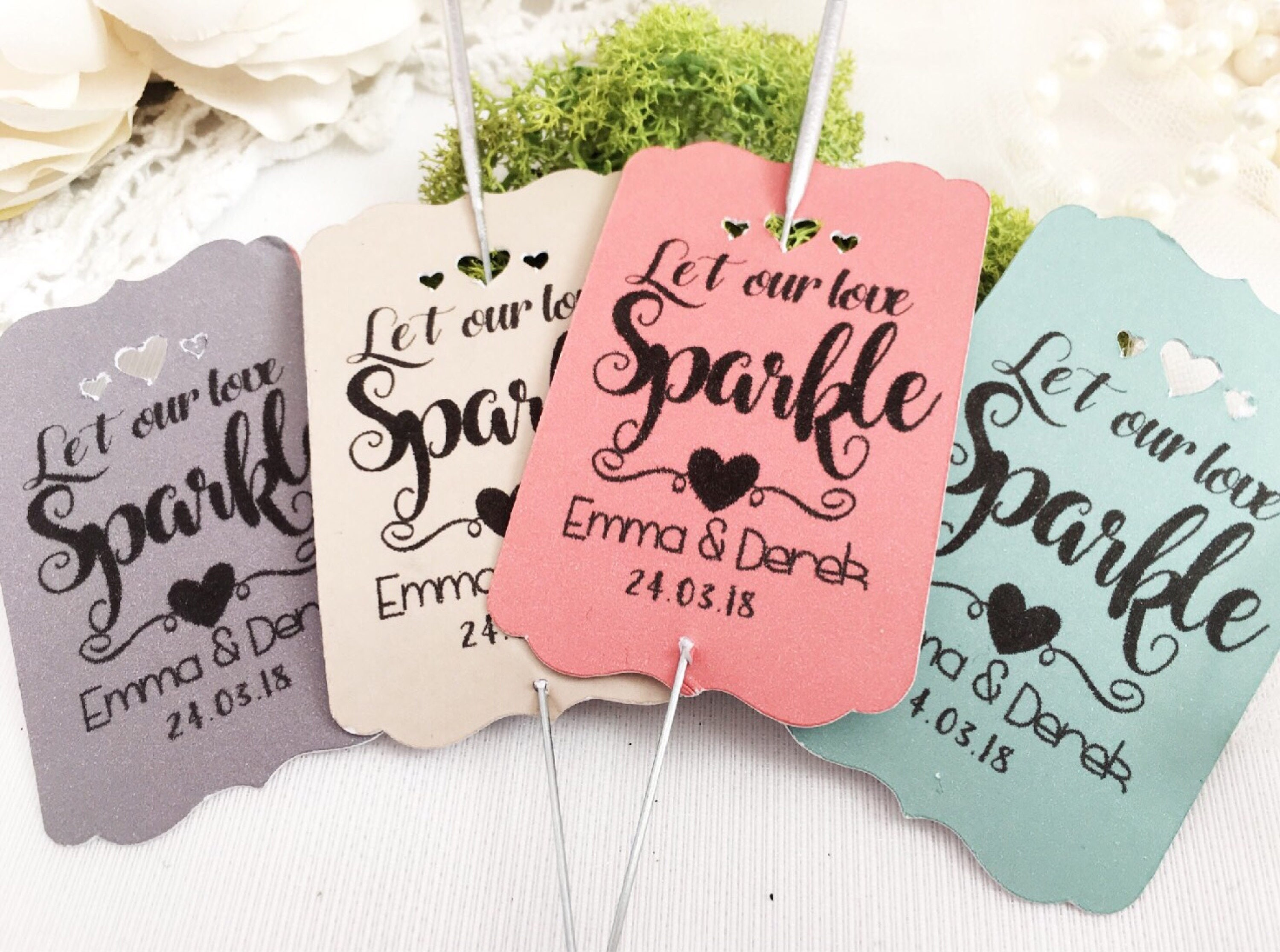 Wedding favors, Personalised wedding sparkler tag , Let love sparkle ...