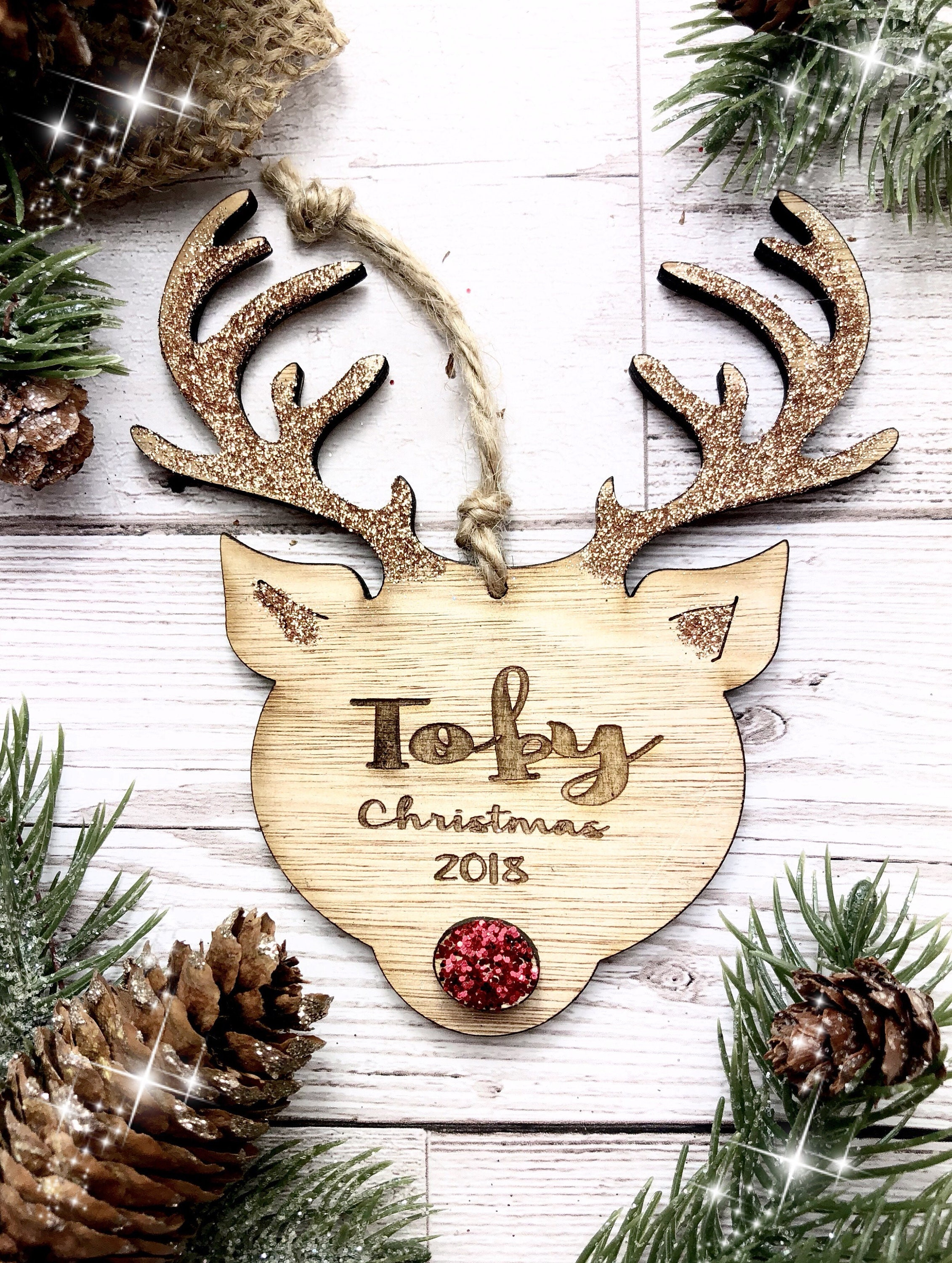 personalised christmas decoration wooden reindeer christmas bauble - Wooden Deer Christmas Decorations
