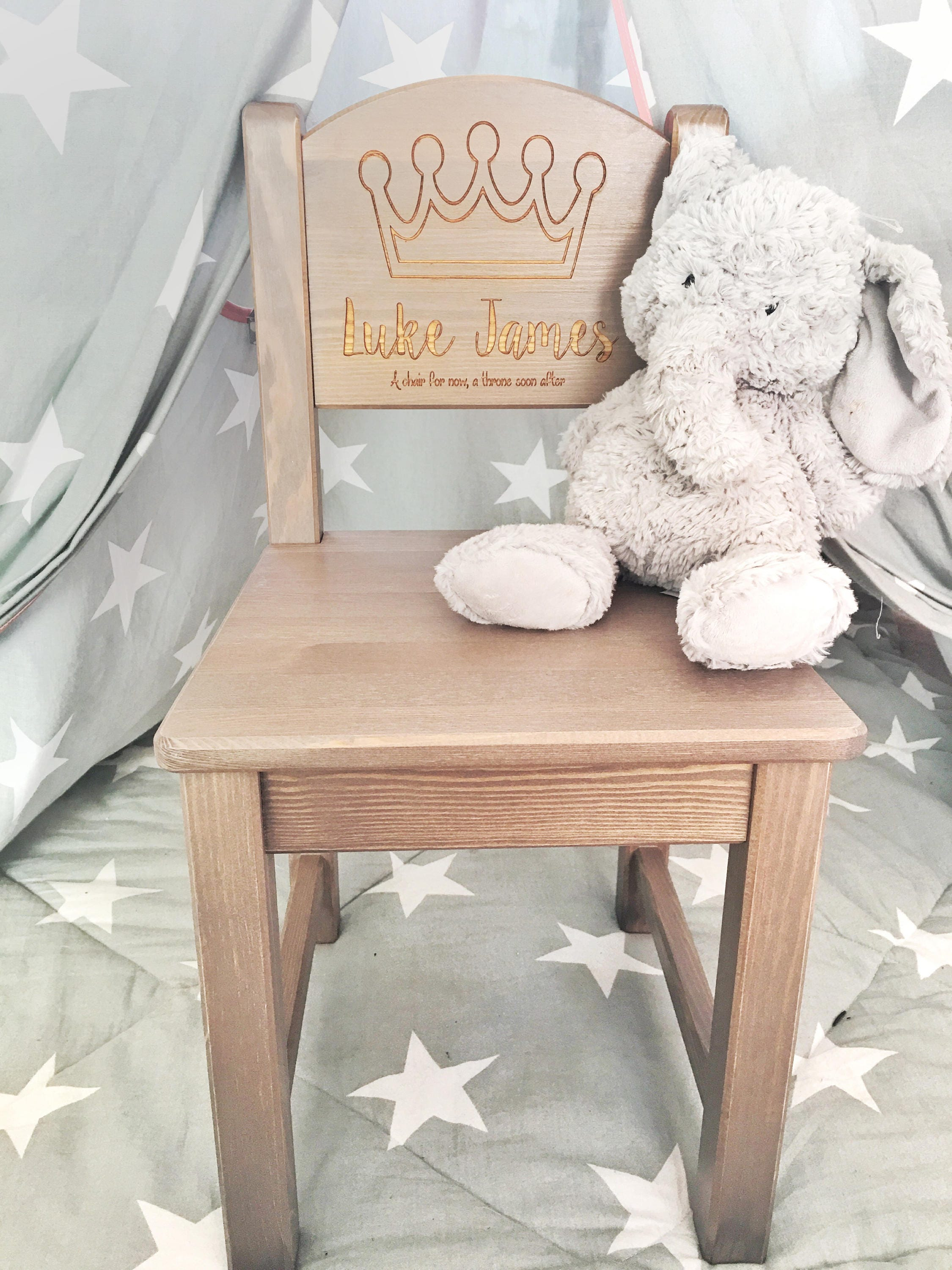 Personalised Chair Boys 1st Birthday Present First Gift New Baby Christening Baptism Wooden 2 COLOURS