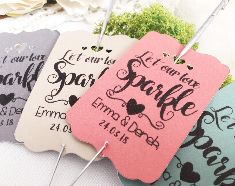 Wedding favors, Personalised wedding sparkler tag , Let love sparkle ...