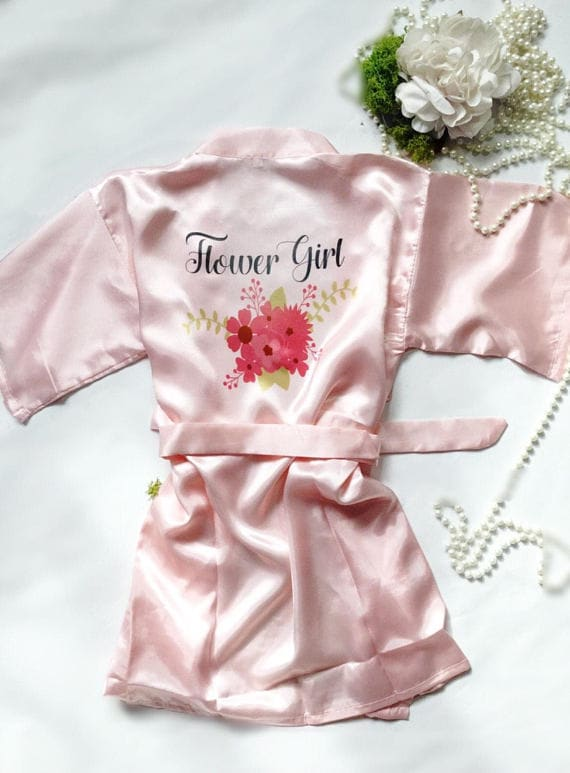 Flower girl dressing gown , Bridesmaids dressing gown, wedding party ...