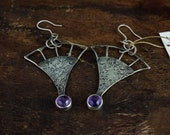 oxidized sterling silver earrings,silver wire, stamped metal, natural amethyst vintage style earrings, antiqued earrings
