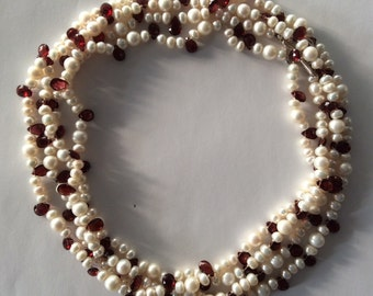 Quadruple Wrap Fresh Water Pearl and Garnet Briolette Necklace