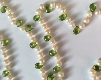 Peridot Briolette and Round Fresh Water Pearl Triple Wrap Necklace