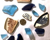 Colourful Devon sea pottery glass group, ideal for jewellery, crafts, mosaic, different patterns and shapes