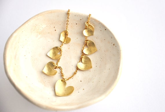 Multiple Hearts Necklace From Brass Valentine's Day Gift Minimal Necklace by Etsy