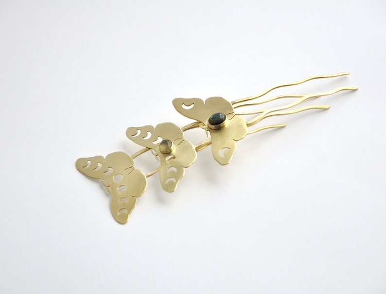 Moth hair pin with moon phases and yellow chalcedony Celestial hair fork Brass moon moth hair pin Witchy hair accessory Lunar jewelry