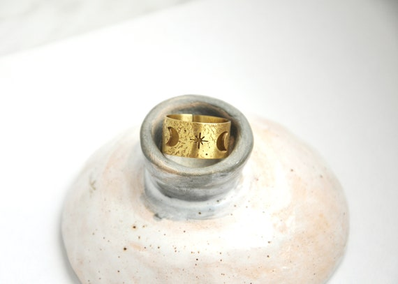 Moon And Stars Ring From Textured Brass Lunar Phase Space Celestial Jewelry W Itchy Ring by Etsy