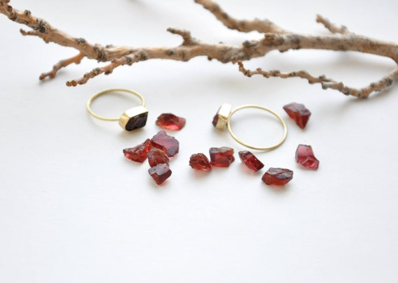 Raw Garnet Stacking Ring January Birthstone Minimal Delicate Boho Jewelry by Etsy