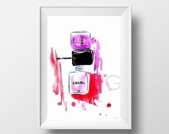 Pink Nail Polish Bottle Printable Decor Chanel Makeup Watercolor Painting Fashion Girl Wall Art Vanity Decals Bathroom Square Print