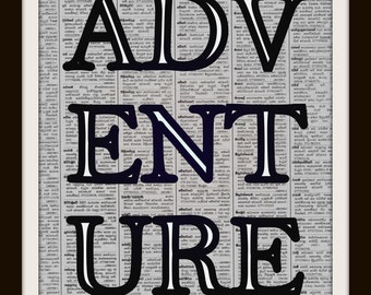 ADVENTURE printable travel quote, black and white boy nursery room vintagenewspaper wall art poster word letter typography adventure quote,