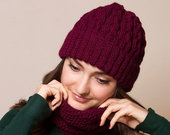 Set hat with a scarf/Circle Scarf Hand Knit/Knitted scarf LIC/Winter/Cowl Cable Chunky Neck Warmers Scarf/wine color/wine red/burgundy/Snood