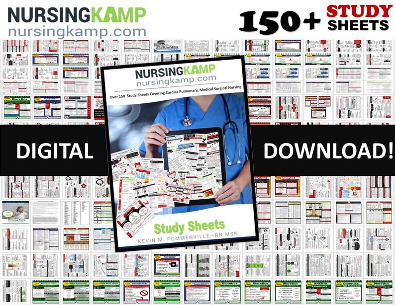 150 Study Sheets Nursing School Medical Surgical Med Surg Cardiac Renal Nurse KAMP Labs Lab Values NCLEX Book Clinical Med Surg Cheat