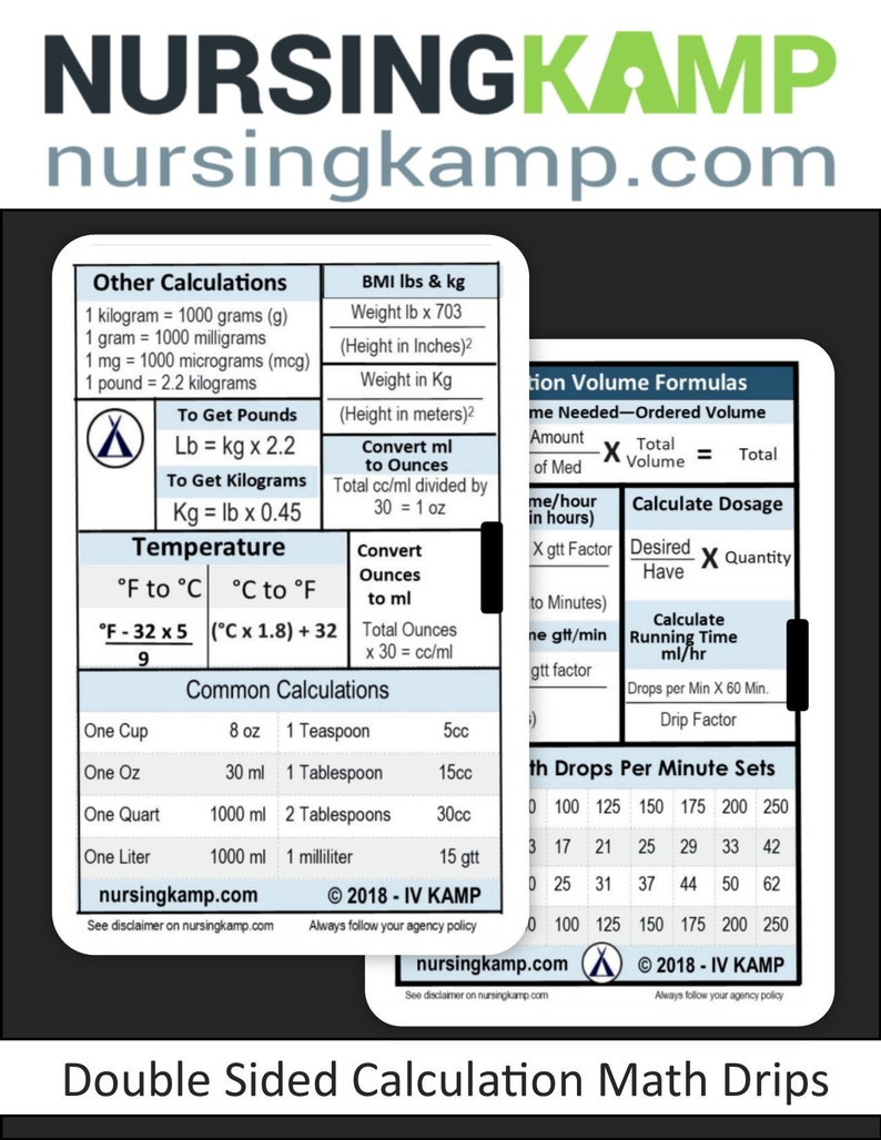 IV Fluid Medical Math Drip Rates Reference Badge ID Nursing Student  Clinical Gift HORIZONTAL punch