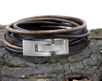 Leather Bracelet Brown antique Brown for men