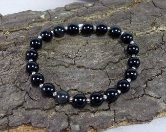 Bracelet 925 sterling silver and Rainbow Obsidian