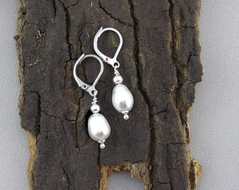 Earrings Pearl Drops Silver plated