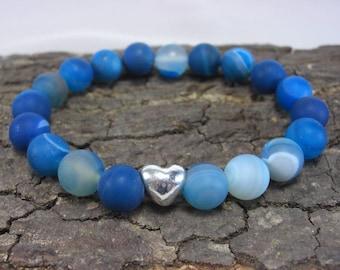 Bracelet Heart and Blue Agate