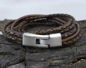 Bracelet leather brown Braided for men