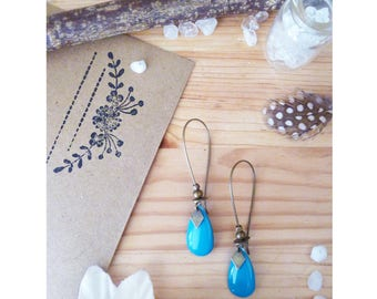 MIKY ▷ Stud Earrings, drop lagoon blue and bronze!